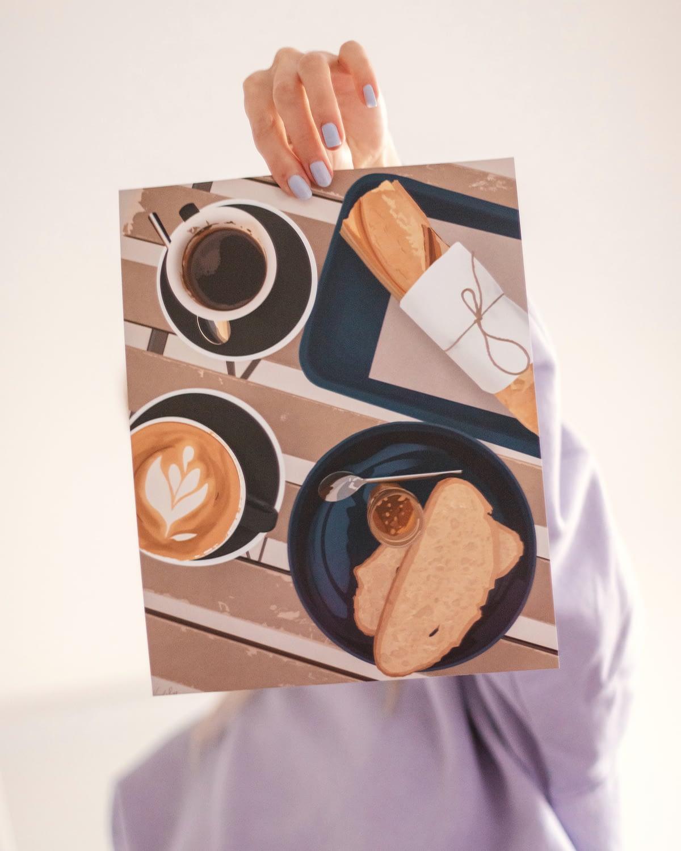 Jozi Cafe Paris illustrated art print by Nicole Rae