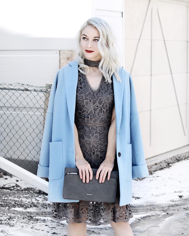 grey lace dress powder blue overcoat